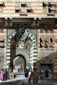 View of the Gate of Wikalat Qaitbay, Al-Gamaliya, Cairo, Egypt. Established by Sultan Al-Ashraf Abu Al-Nasr Qaitbay, a Circassian Mamluk, in 1480 as a commercial centre. Painting by French architect, Pascal-Xavier Coste (1787-1879) in 1818.