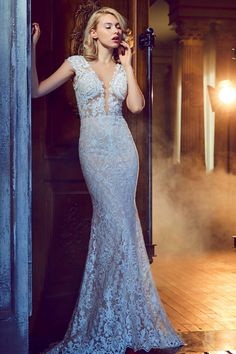Calla Blanche - 17241 / BERYL | Top Designer Wedding Dresses - Jaehee Bridal Atelier  #sheath #plunging #vneck #capsleeve #bridal #weddingdress
