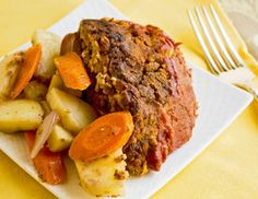Mom-Style Vegan Not-Meatloaf: Another of the fabulous Fresh From The Vegan Slow Cooker recipes we sampled. VERY yummy! Loved how it was cooked with root veggies on the bottom of the pot.