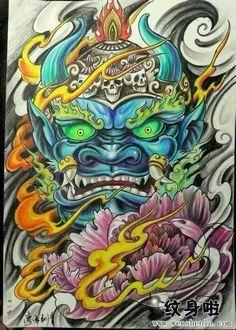 Japanese Tiger Tattoo, Japanese Tattoo Designs, Tattoo Drawings, Body Art Tattoos, Sleeve Tattoos, Japan Tattoo Design, Foo Dog Tattoo, Hannya Mask Tattoo, Full Tattoo