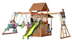 Backyard Discovery. Saratoga is back in stock!   Fantastic full-featured playset with lower clubhouse. Tons of fun! $799