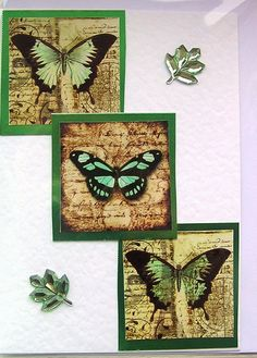Butterfly HandCrafted Layered Card  Blank for any by SunnyCrystals, £1.45 #decoupage #card #birthday #butterfly #green