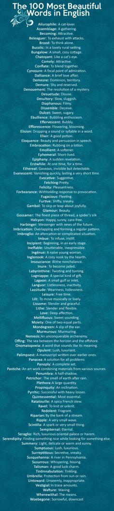 100 most beautiful English words.