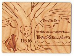 Adorable engraved save the date magnets made from cherry wood. Love the dog. Ink Stamps, Save The Date Magnets, Save The Date Cards, Wedding Invitation, Invite, Name Badges, Dates, Cherry