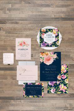 Watercolor Flower Wedding Invitation Samples - Wedding Invitation Samples - Invitation, Response Card, Reception Card - Sample Set - by blushprintables on Etsy https://www.etsy.com/listing/259610462/watercolor-flower-wedding-invitation