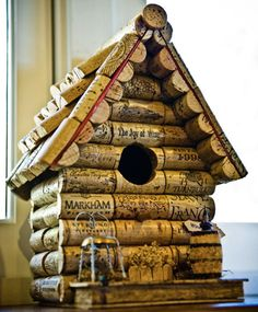 Bird House out of wine corks.