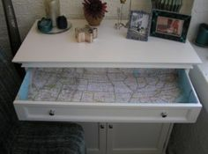 Map Lined Drawers - PERFECT fun for the drawers inside the RV: Oh no...Now I'm going to have to redo mine...how cute!