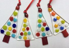 Fused Glass Spotty Christmas Tree Decoration Ornament Window Hanging Gift Xmas Present