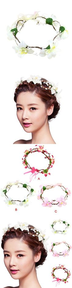 Voberry® Wedding Bridesmaid Boho Floral Flower Festival Forehead Headband Hair Garland (C)