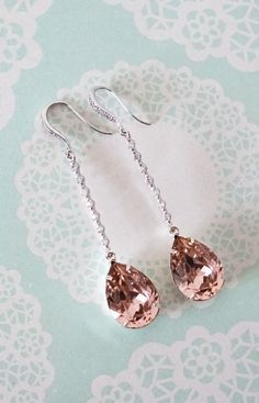 Silver Vintage Rose Pink Swarovski Crystal Teardrop Wedding Earrings Bridesmaid Earrings Bridal Jewelry Wedding with Cubic Zirconia