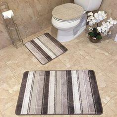 Homemusthaves 3 Piece Bath Rug Set Leaf Pattern Bathroom Rug Adorable 3 Piece Bathroom Rug Sets Decorating Inspiration