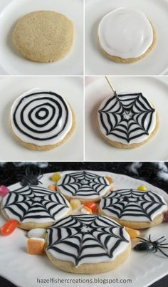 -Peek-A-Boo! Cupcakes Making spider web patterns in icing is a really effective way to decorate cookies and cakes for Halloween and they're actually very easy to do, children will love making these too! Bolo Halloween, Halloween Cookie Recipes, Dessert Halloween, Halloween Sugar Cookies, Halloween Food For Party, Spooky Halloween, Couple Halloween, Halloween Costumes, Easy Halloween Treats