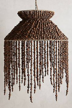 Hand-Beaded Vara Chandelier in Brown Anthropologie Home, Beaded Chandelier, Chandeliers, I Love Lamp, Idee Diy, Modern Farmhouse Decor, Lampshades, Wooden Beads, Decoration