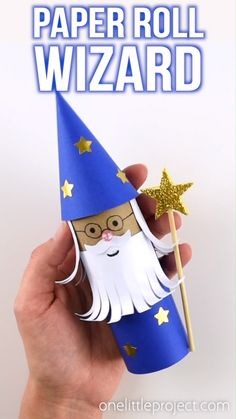 How to Make a Paper Roll Wizard This paper roll wizard is SO CUTE! Such a great craft for kids and a super fun way to recycle. Use our free printable template to make it even easier! Toilet Paper Roll Crafts, Paper Crafts For Kids, Easy Crafts For Kids, Creative Crafts, Preschool Crafts, Diy For Kids, Craft With Paper, Cardboard Crafts, Mery Crismas
