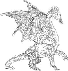 SciFi and Fantasy Art Line Drawing Dragon by Khalilah K-lah Allah-Lee