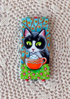 Original Tuxedo Cat and Latte Whipped Cream by BucksCountyDesigns, $25.00