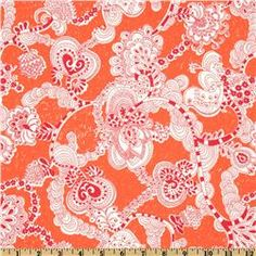 Kokka Trefle Prints Charming Cotton Canvas Garland Orange