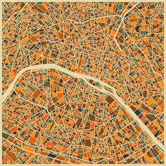 Paris Map Art Print by Jazzberry Blue Art Mural, Wall Art, Framed Wall, Wall Murals, Abstract City, Colorful Abstract Art, Blue Abstract, Popular Art, Dibujo