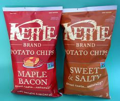 Kettle Brand Maple Bacon And Sweet & Salty Potato Chips. Vegan Chips, Snack Recipes, Healthy Recipes, Maple Bacon, Sweet And Salty, Potato Chips, Recipe Of The Day, Health And Wellness, Food And Drink