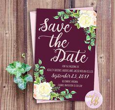 Ashley Save The Date Wine Marsala Navy STD by TartberryPrints