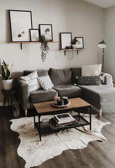 Wohnkultur | Wohnzimmer | Wohnung Dekoration | kleiner Raum | graues Sofa | Modus... - Wohnzimmer Dekoration Ideen #livingroomdiy