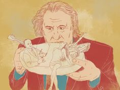 Behind the surrealist gesture of Gerard Depardieu — the first Frenchman of world renown to ever take Russian citizenship — there is a good deal more sense (and absurdity) than would appear at first glance. Drawing by Natalya Mikhailenko #russia #drawings #gerarddepardieu #depardieu #france