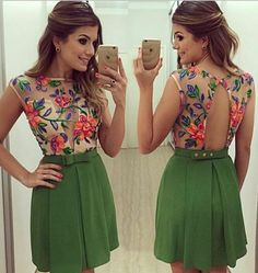 Green Patchwork Grenadine Floral Print Pleated Bow Backless See Through Sexy Party Mini Dress