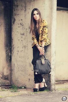 Studded bag doctor pums blazer prints