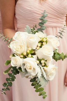 13 Eucalyptus Wedding Bouquets and Flower Arrangement Ideas: Green and white wedding bouquet idea -Ivory rose, dusty miller and eucalyptus bouquet {Laura Witherow Photography}