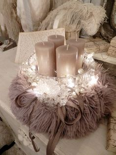 Your marketplace to buy and sell handmade items. - Beautiful nostalgic Advent arrangement with 4 candles in mauve, made with a wreath of fur in a purp - Christmas Bathroom Decor, Christmas Diy, Christmas Decorations, Style Shabby Chic, Shabby Chic Pink, Diy Furniture Building, Selling Handmade Items, Advent Wreath, Printable Christmas Cards