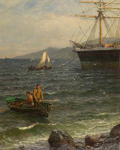 Hans Gude (1825-1903): Norsk havn, 1886
