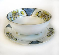 Noritake Art Deco Mayonnaise Bowl and Underliner Plate Handpainted Green M Mark | eBay