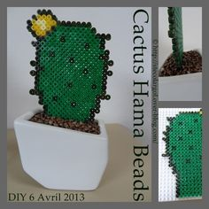 Cactus garanti sans épines !? Fournitures : perles HAMA vertes claires ICI mais encore pour le pourtour et les pics des vertes plus foncées comme Là et des jaunes (toujours perles Hama) trouvable en ligne là ... des plus claires si vous le souhaitez pour...