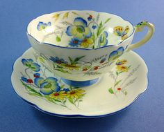 """Painted Very Rare Star Mark Paragon """" Summer Time """"  Tea Cup and Saucer Set"""