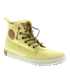 Another great find on #zulily! Soft Yellow Frayed Hi-Top Sneaker - Women by Blackstone #zulilyfinds