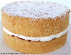 We filled this light and delicate cake with strawberry jam and whipped cream, and dusted the top with icing sugar. Other suitable fillings/. Delicious Cake Recipes, Yummy Cakes, Sweet Recipes, Dessert Recipes, Healthy Recipes, Dessert Ideas, Fish Recipes, Cupcakes, Cake Cookies