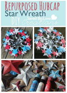 Upcycled #repurposed hubcab to #patriotic star wreath #timholtz #distresspaint @savedbyloves #fourthofjuly