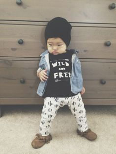WILD AND FREE t-shirts; gender neutral tees; modern baby clothes; screen printed