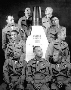"|| The ""New Nine."" Pilots recruited to fly in the Gemini program. From upper right, in clockwise order: Frank Borman, John Young, Tom Stafford, Pete Conrad, Jim McDivitt, Jim Lovell, Elliot See, Ed White, Neil Armstrong. Credit: NASA via Retro Space Images"