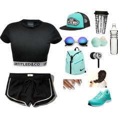 Get That Booty Workin by silemm on Polyvore featuring Abercrombie & Fitch, NIKE, Vans, Revo, Beats by Dr. Dre, Eos, Dot & Bo, ootd, sport and summer2015