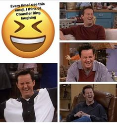 Friends: Every time I see this emoji, all I can see is Chandler laughing / Matthew Perry 😆 Tv: Friends, Friends Funny Moments, Friends Scenes, Funny Friend Memes, Friends Episodes, Friends Cast, Funny Quotes, Funny Memes, Hilarious