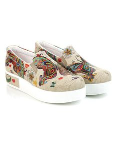 Look what I found on #zulily! White & Purple Psychedelic Butterfly Platform Slip-On Sneaker #zulilyfinds