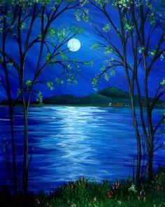 Moonlit Mountain Lake, beginner painting idea.