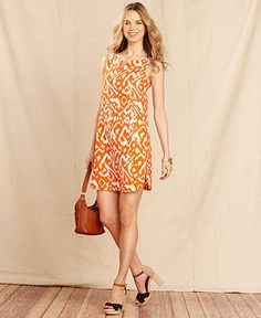 Tommy Hilfiger Dress, Sleeveless Ikat-Print Linen Shift - Dresses - Women - Macys