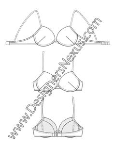 Intimate Apparel Flat Sketch Push-Up Bra with Underwire Cups, Adjustable Straps, and Hook-n-eye Closure V7