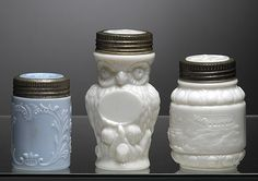 Three Rare Figural & Milk Glass Canning Jars - I love milk glass!
