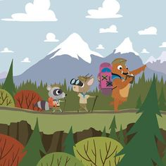 Scouts - Hike - Whimsical Storybook Artwork of a small troop of Animal Scouts exploring the great out doors - Chopping Wood  #kidsroomart #kidsart #kidsroom #whimsicalart #adventure #kidsroomwallart #wallart #storybook #kidsbookart #childrensbookart #animals #animalart