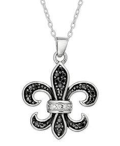 Unwritten Sterling Silver Necklace, Black Cubic Zirconia Fleur De Lis Pendant (1.65mm) - Necklaces - Jewelry & Watches - Macy's