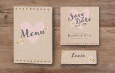 """Kraftpapier Hochzeitseinladung """"Olivia"""" im Stil eines Briefumschlages weddix"""
