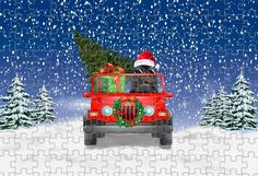 Christmas Dogs Driving Jeep Puzzle 1000 or 500 Piece Awesome Gift, Dog Lovers Christmas Gifts, Pet Christmas Jigsaw Puzzle Christmas Jigsaw Puzzles, Christmas Puzzle, Christmas Dog, Christmas Holidays, Christmas Gifts For Pets, Christmas Animals, Cairn Terrier, Terrier Dogs, Christmas Doormat